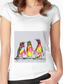 Neon penguins Women's Fitted Scoop T-Shirt