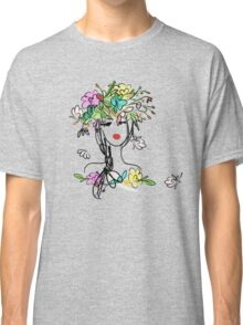 Female portrait with floral hairstyle  Classic T-Shirt