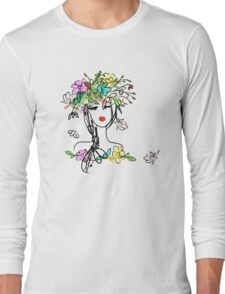 Female portrait with floral hairstyle  Long Sleeve T-Shirt