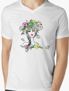 Female portrait with floral hairstyle  Mens V-Neck T-Shirt