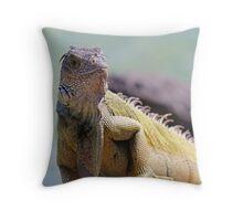 Young Adult Green Iguana Throw Pillow