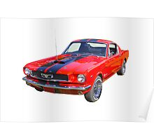 Red 1966 Ford Mustang Fastback Poster