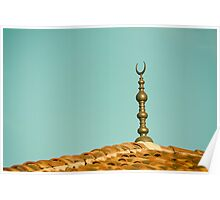 Islamic Religion Crescent Moon Sign On Mosque Poster