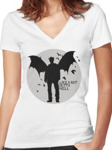 Like A Bat Outta Hell Women's Fitted V-Neck T-Shirt