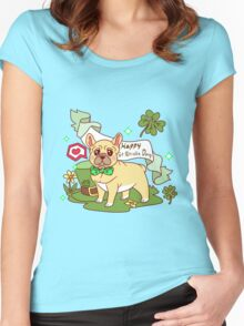St. Patrick's Day French Bulldog  Women's Fitted Scoop T-Shirt