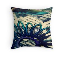 Blue Floral Paper Cutting  Throw Pillow