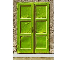Green Door On Concrete Wall Photographic Print