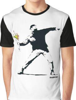 BANKSY - RAGE FLOWER THROWER Graphic T-Shirt