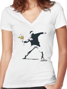 BANKSY - RAGE FLOWER THROWER Women's Fitted V-Neck T-Shirt