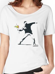 BANKSY - RAGE FLOWER THROWER Women's Relaxed Fit T-Shirt