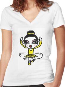 ballerina girl Women's Fitted V-Neck T-Shirt