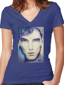 Benedict Cumberbatch as Sherlock Design 3 Women's Fitted V-Neck T-Shirt