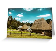 Old Romanian Village View In The Carpathian Mountains Greeting Card