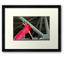 Naked Glamour Model dressed only in Red fabric at the the Bridge constructions Framed Print