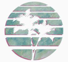 Vaporwave Palm Trees in the Sun - Blue Kids Tee