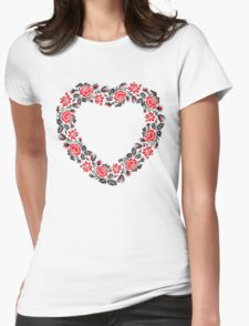 Red and Black Rose cross-stitch Pattern Womens Fitted T-Shirt