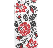 Red and Black Rose cross-stitch Pattern iPhone Case/Skin