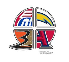 Los Angeles Pro Sports TETRAlogy! Angels, Clippers, Anaheim Ducks and San Diego Chargers by SplitDecision
