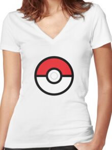 Pokéball Women's Fitted V-Neck T-Shirt