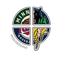 Minneapolis / St. Paul Minnesota Pro Sports TETRAlogy! Timberwolves, Twins, Vikings and Wild by SplitDecision