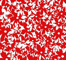 Crowded Flowers - Red by Shawna Rowe