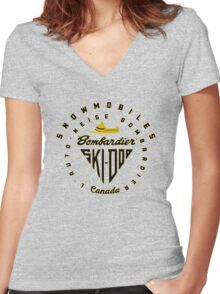 Ski doo vintage Snowmobiles Women's Fitted V-Neck T-Shirt