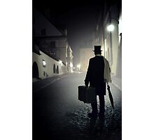 Victorian man with top hat carrying a suitcase  Photographic Print