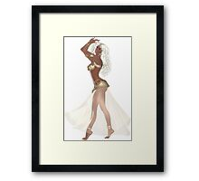 African American Woman with Blond Hair Wearing Golden Belly Dance Clothing Framed Print
