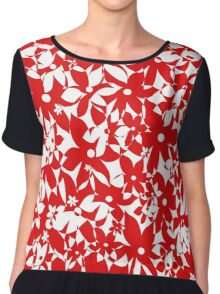Crowded Flowers - Red Chiffon Top