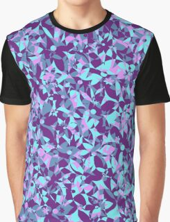 Crowded Flowers - Violet and Turquoise Graphic T-Shirt