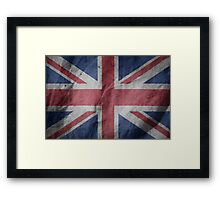 United Kingdom Great Britain Fabric Flag Framed Print