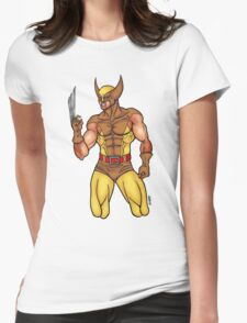 X-MEN Wolverine 90's Brown Suit Womens Fitted T-Shirt