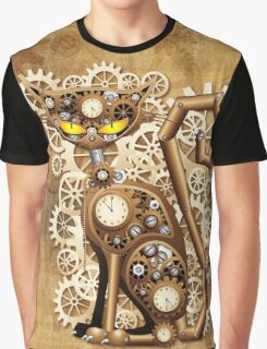Steampunk Cat Vintage Style Graphic T-Shirt