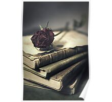 Still life with books and dry red rose Poster