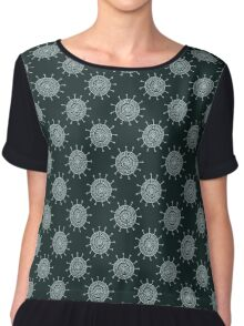 White doodle flower on black background. Simple seamless pattern. Hand drawn wallpaper.  Chiffon Top