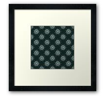 White doodle flower on black background. Simple seamless pattern. Hand drawn wallpaper.  Framed Print