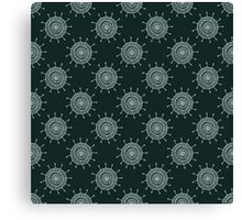 White doodle flower on black background. Simple seamless pattern. Hand drawn wallpaper.  Canvas Print
