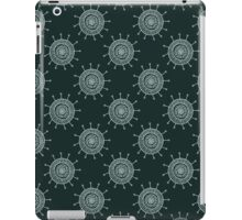 White doodle flower on black background. Simple seamless pattern. Hand drawn wallpaper.  iPad Case/Skin