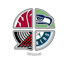 Seattle Sports TETRAlogy! Mariners, Seahawks, Portland Trailblazers and Washington State Cougars by SplitDecision