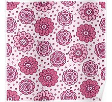 Pink floral seamless pattern. Pretty hand drawn doodle background. Poster
