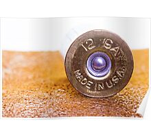 Close up of a 12ga shotgun shell with shallow DOF. Poster