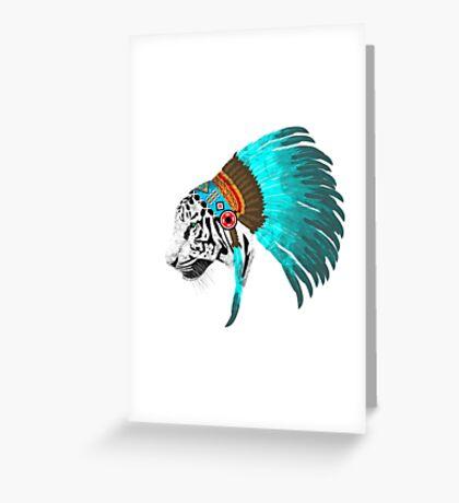 Abstract Tiger Chief Greeting Card