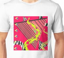Totally Rad Red 1980s Geometric Pattern Unisex T-Shirt