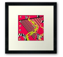 Totally Rad Red 1980s Geometric Pattern Framed Print