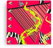 Totally Rad Red 1980s Geometric Pattern Canvas Print