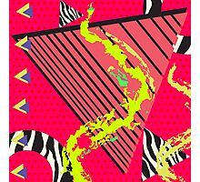 Totally Rad Red 1980s Geometric Pattern Photographic Print