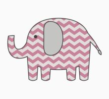 Grey and Pink Chevron Elephant Sticker Shape Baby Girl Scrapbooking by StickerStore