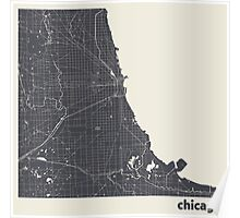 Minimal Maps - Chicago - Dark Poster