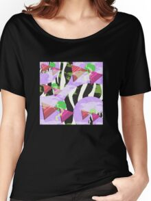 1980s Geometric Pattern Purple Triangles Splatters and Zebra Print Women's Relaxed Fit T-Shirt