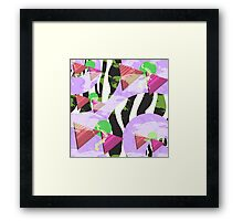 1980s Geometric Pattern Purple Triangles Splatters and Zebra Print Framed Print